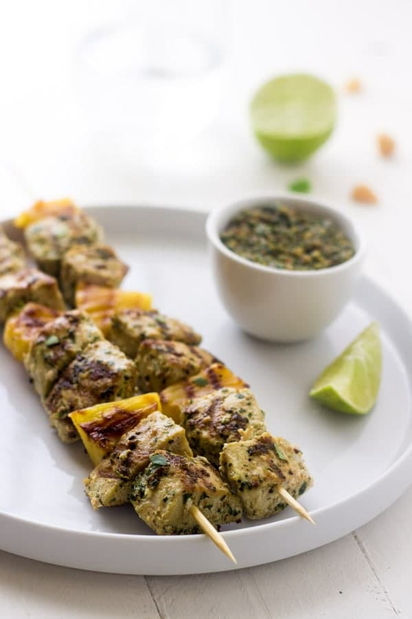 Grilled Mahi Kebabs with Macadamia Cilantro Pesto via Food Faith Fitness