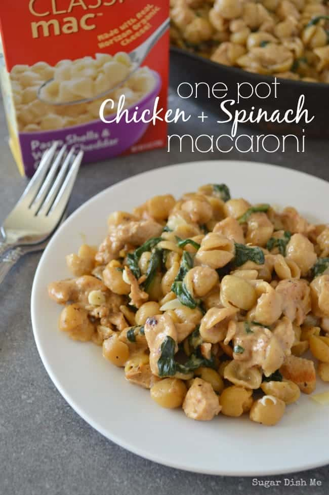 One Pot Chicken and Spinach Macaroni