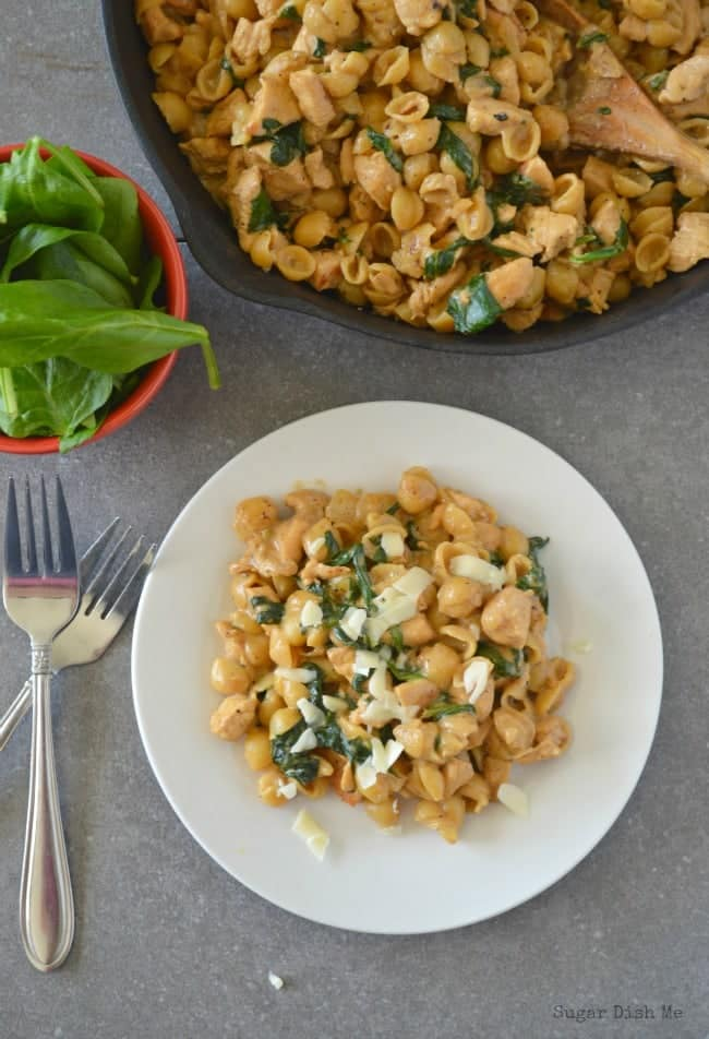 Chicken and Spinach Macaroni is a delicious and family pleasing 30 minute meal!