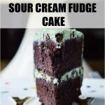 Sour Cream Fudge Cake Pinterest Pin photo of a cake slice with text
