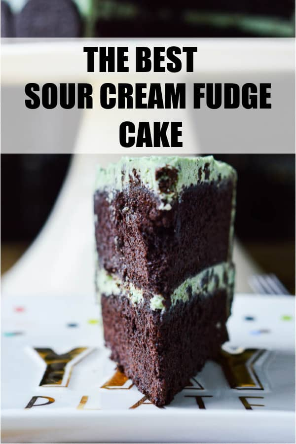Sour Cream Fudge Cake is dense and fudgey and is one of my very favorite chocolate cake recipes! Make it with the Chocolate Fudge Frosting or try it with Mint Oreo Buttercream!