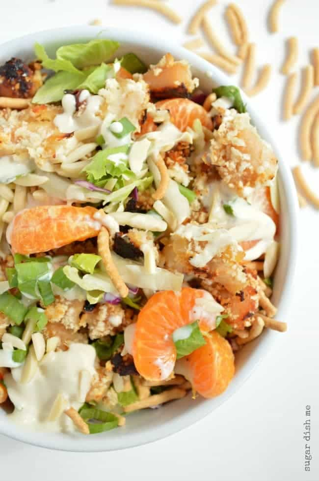 Lightened Up Asian Crunch Salad with Creamy Dressing