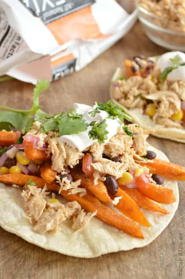 Chicken Tacos with Sweet Potatoes and Black Bean Salsa