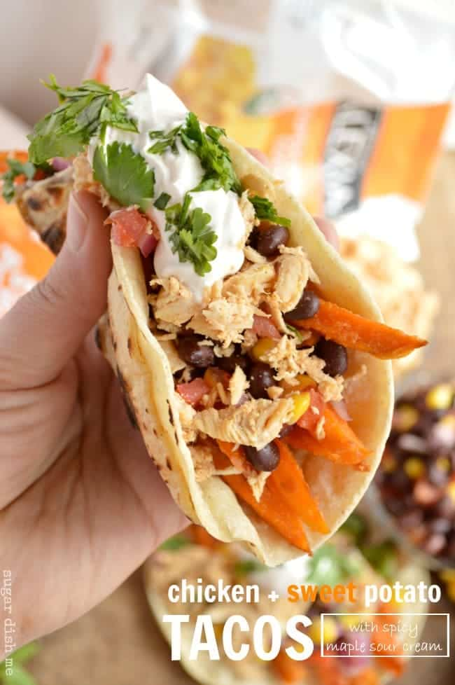 Chicken and Sweet Potato Tacos with Spicy Maple Sour Cream - Sugar ...