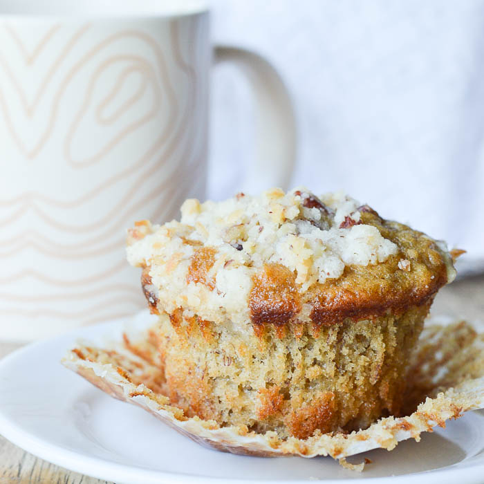 Fluffy Banana Muffins with Pecan Streusel