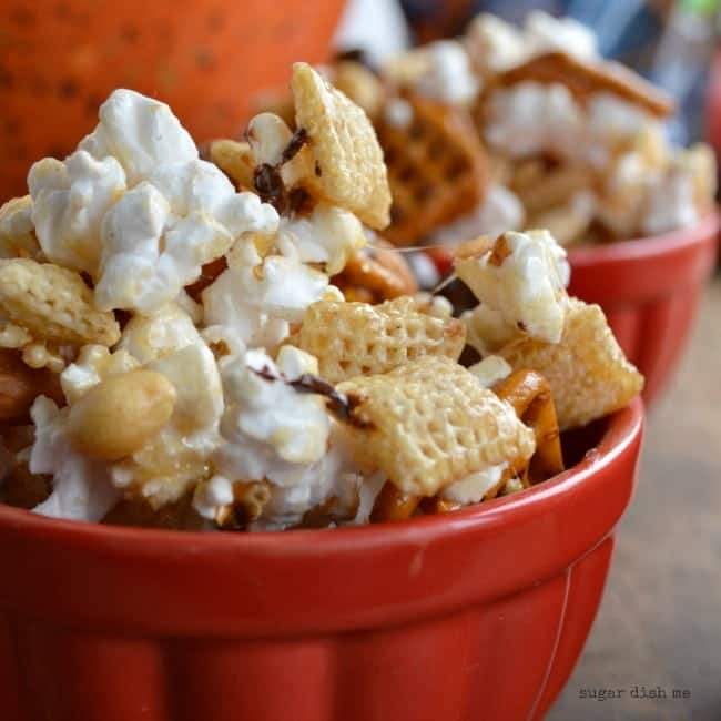 Snack Mix with Popcorn Pretzels and Chocolate