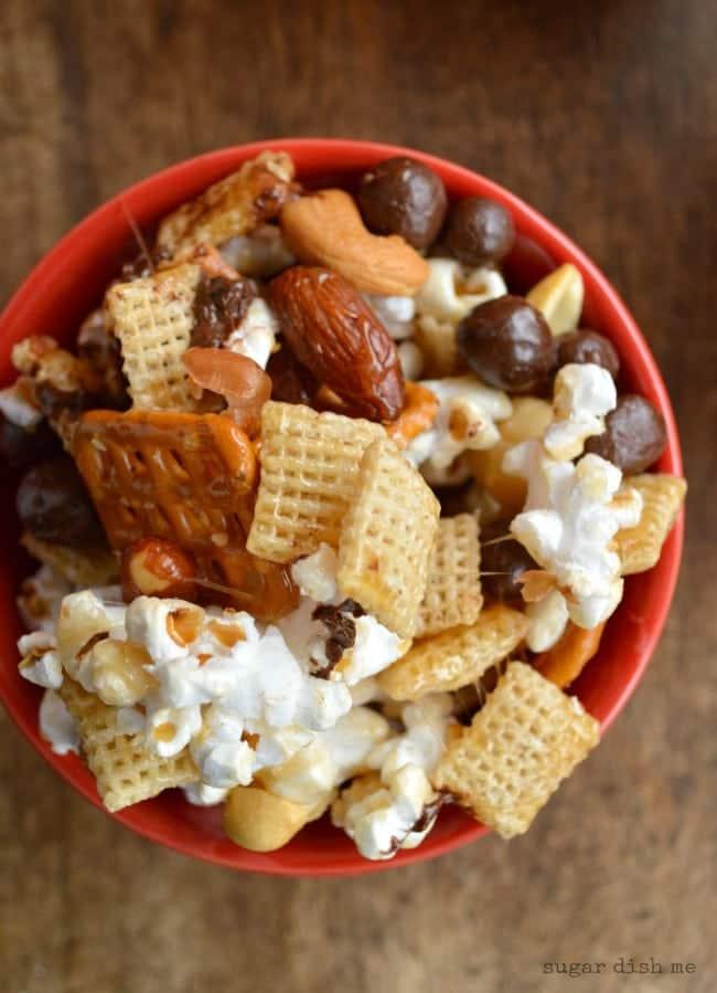 Popcorn Pretzel Snack Mix with Chocolate