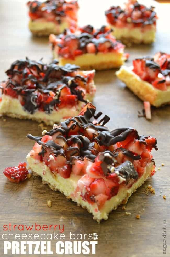 ... Strawberry Cheesecake Bars with Pretzel Crust are salty, sweet, rich