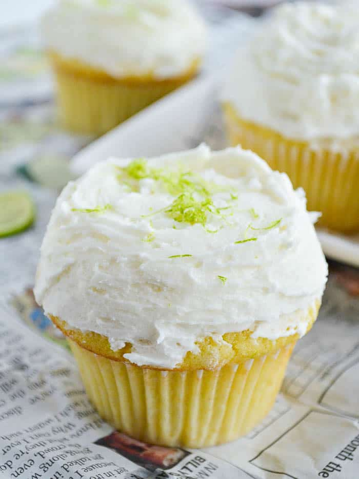 Tequila Lime Cupcakes with Whipped Margarita Buttercream and lime zest