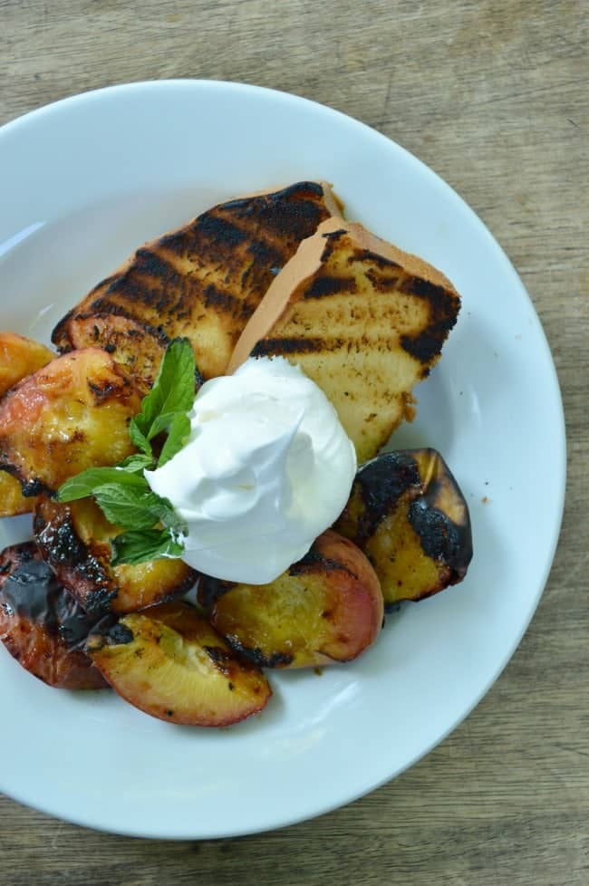 Grilled Pound Cake with Grilled Peaches and Whipped Cream