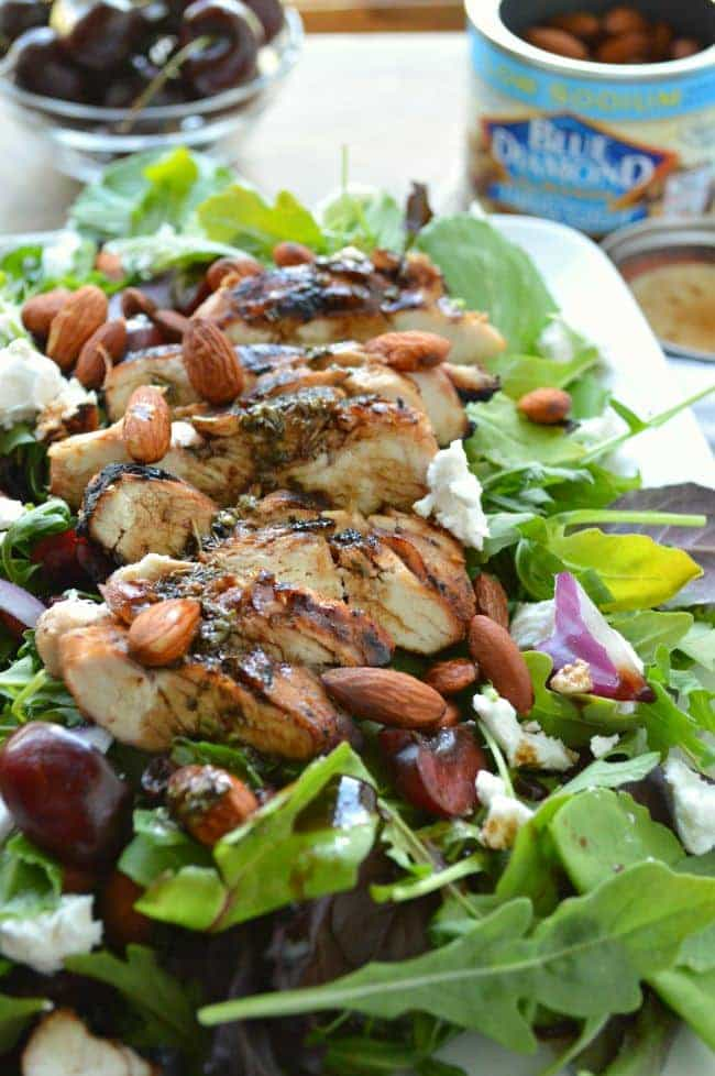 Grilled Chicken Salad with Cherries and Almonds