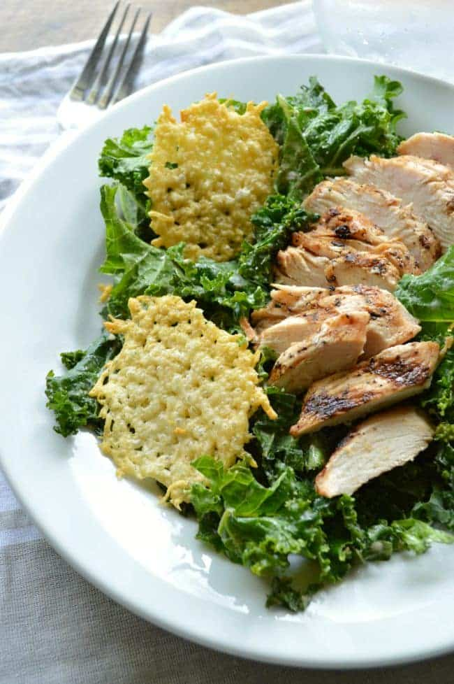 Copycat Panera Kale Chicken Caesar Power Salad