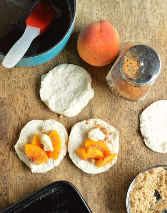 How to Assemble Peach Pie Biscuit Bombs
