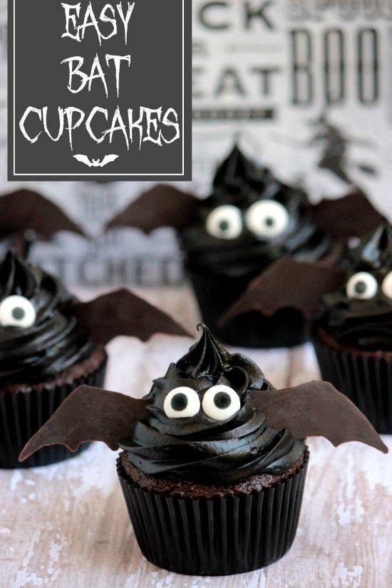 Easy Bat Cupcakes from Big Bear's Wife
