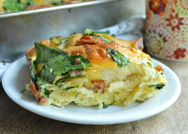 Bacon Spinach Breakfast Bake with Crescent Rolls