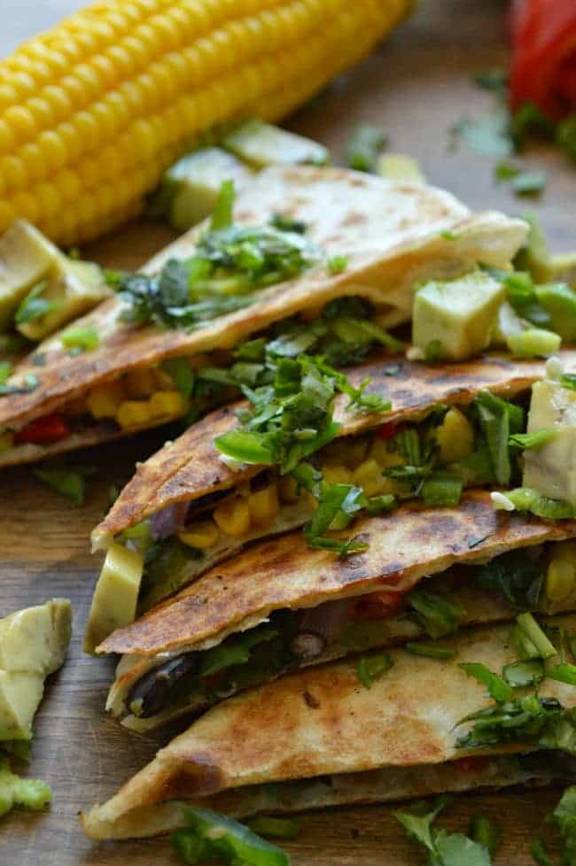 Veggie Quesadillas with Creamy Garlic Cilantro Sauce