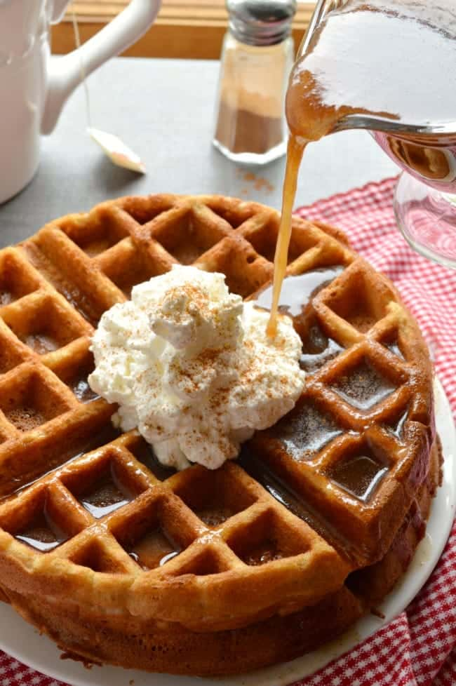 Apple Butter Waffles with Cinnamon Syrup