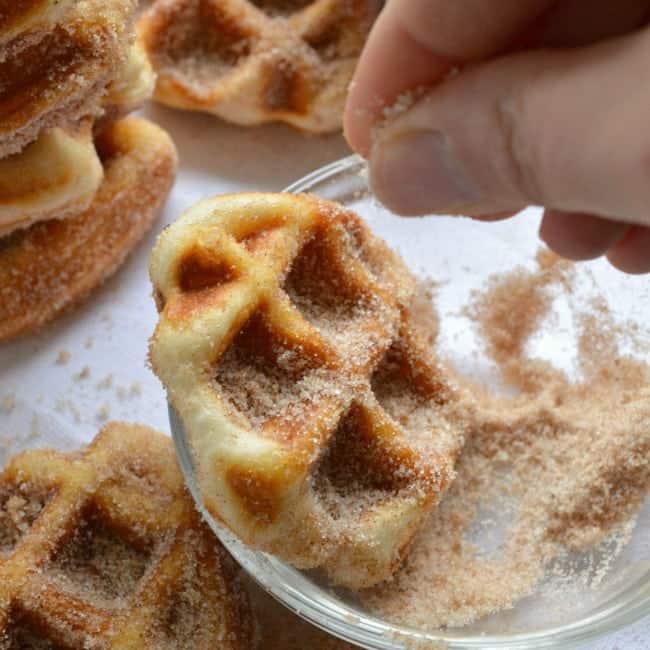 Minute Cinnamon Sugar Waffle Bites - Sugar Dish Me