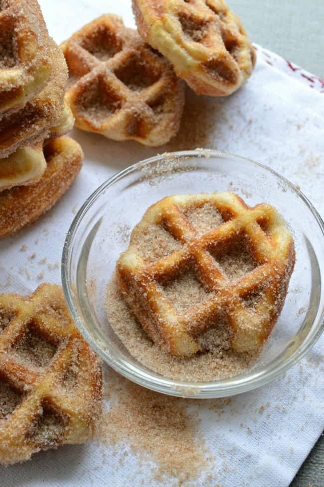 5 Minute Cinnamon Sugar Waffle Bites