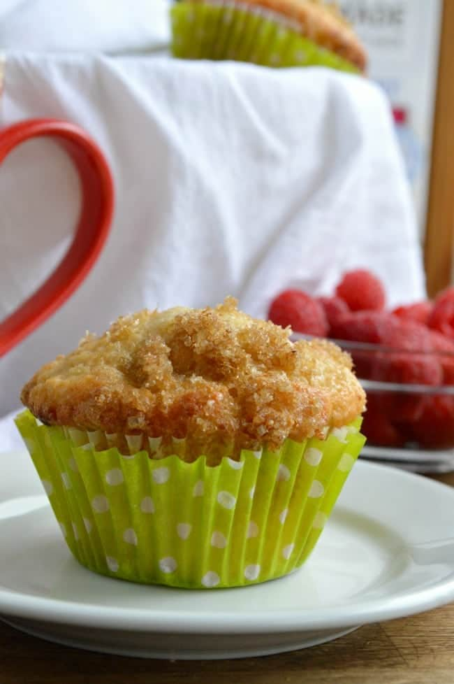 Raspberry Muffins made with Greek Yogurt