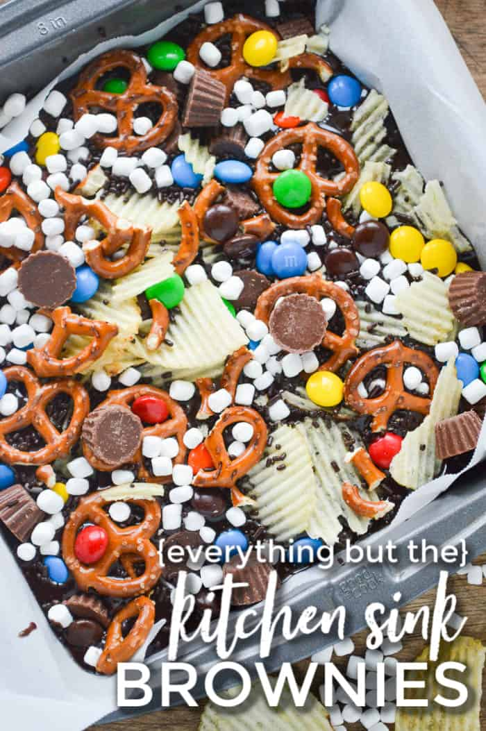 Everything but the Kitchen Sink Brownie Batter with potato chips, mini marshmallows, pretzels, m & m's, a Reese's Cups