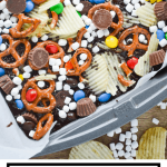 Everything but the Kitchen Sink Brownies start with a box mix and then all your favorite snacks are baked in