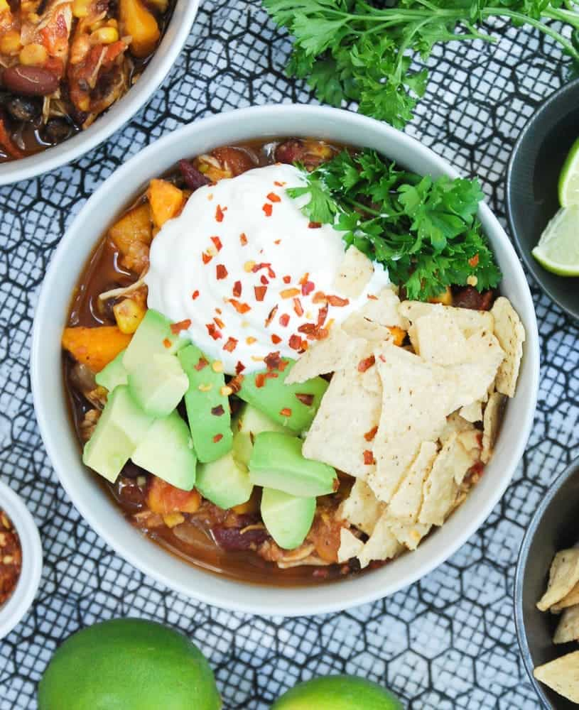 Slow Cooker Sweet Potato and Chicken Chili via Life is But a Dish