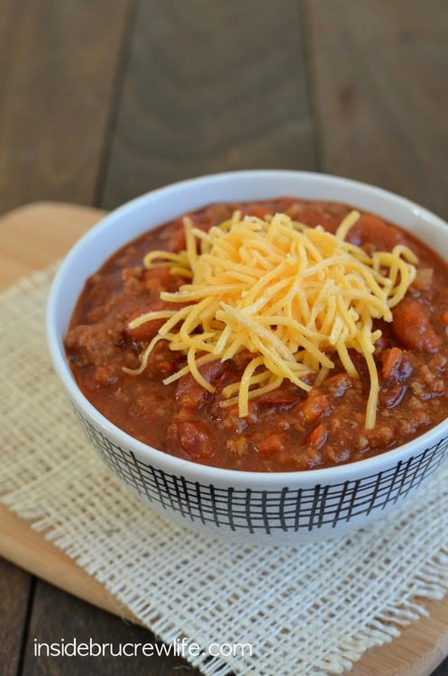 Sweet and spicy Dr. Pepper Chili via Inside BruCrew Life