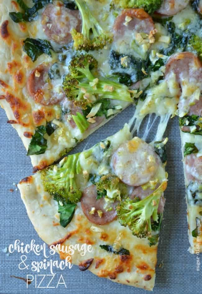 Chicken Sausage and Spinach Pizza with Garlic Recipe