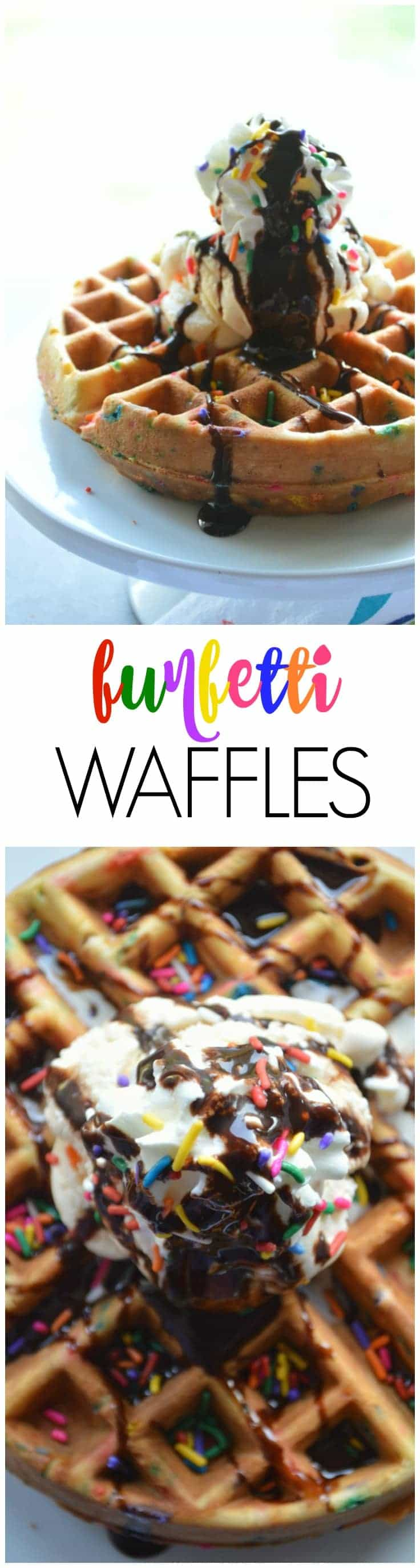 Fluffy vanilla waffle batter loaded up with sprinkles! Funfetti Waffles make a fun celebration breakfast or an amazing decadent dessert