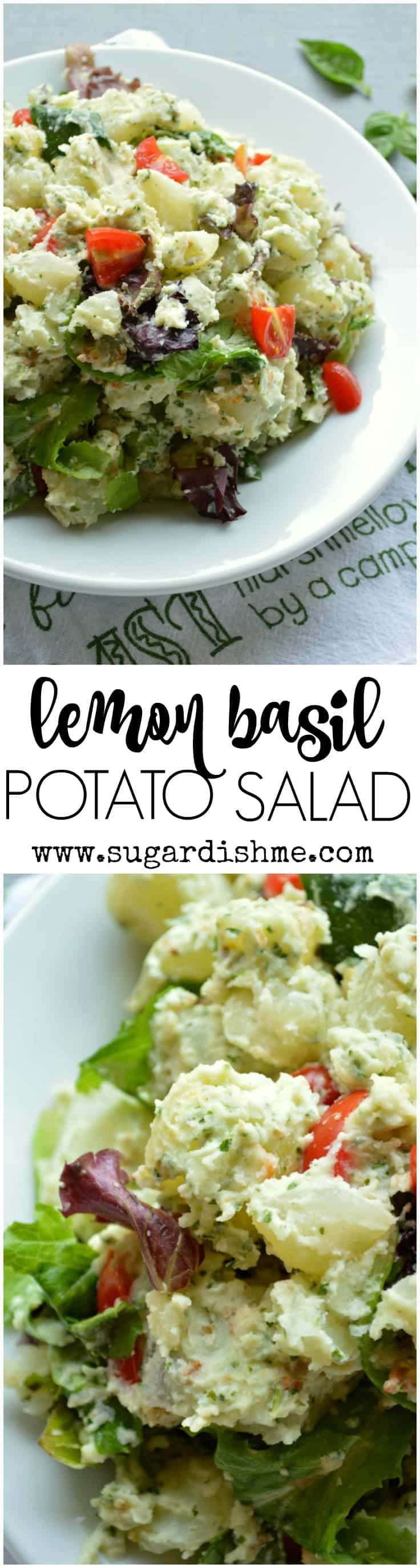 This Lemon Basil Potato Salad Recipe is tossed in a light creamy pesto dressing that sets it apart. So much flavor in this simple side dish.