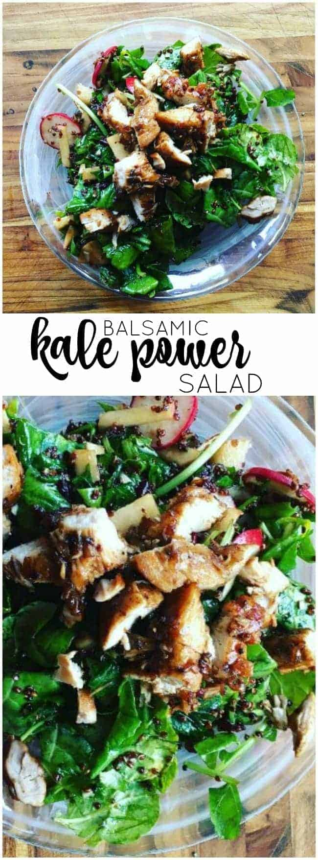 Less that 15 minutes and you have a deliciously filling Balsamic Kale Power Salad. High in protein and so so good!