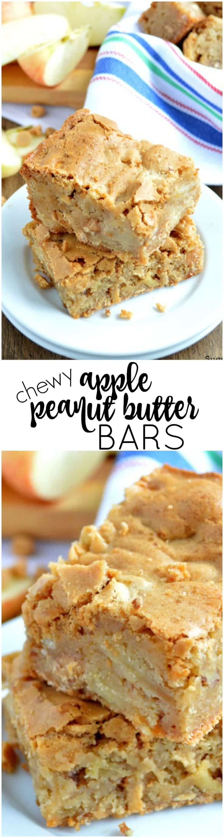 These Chewy Apple Peanut Butter Bars are simple to make and are loaded with cookie bar goodness. A favorite recipe no matter the time of year!