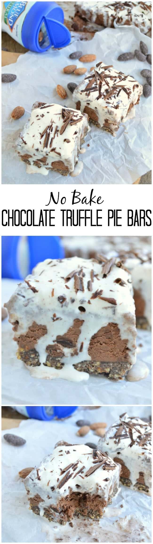 These No Bake Chocolate Truffle Pie Bars are cool and creamy and have a delicious chocolate almond crust!!
