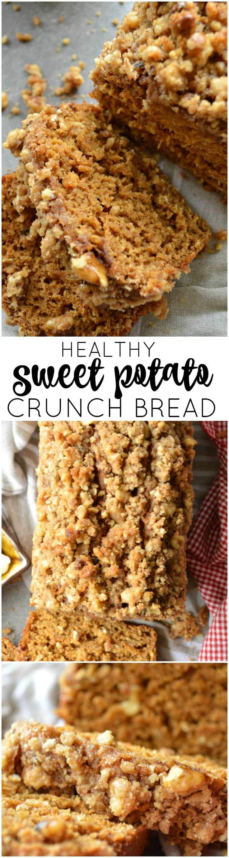 This Healthy Sweet Potato Crunch Bread uses unsweetened applesauce and mashed sweet potatoes for a wholesome treat that will satisfy your sweet tooth!