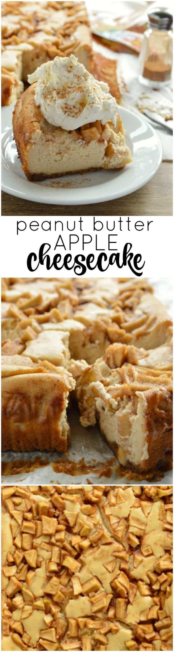 Peanut Butter Apple Cheesecake is a fall favorite! Creamy peanut butter cheesecake topped with delicious cinnamon peanut butter apples, all on a graham cracker crust. Be sure to leave yourself a couple of hours for the cheesecake to chill before slicing and serving.