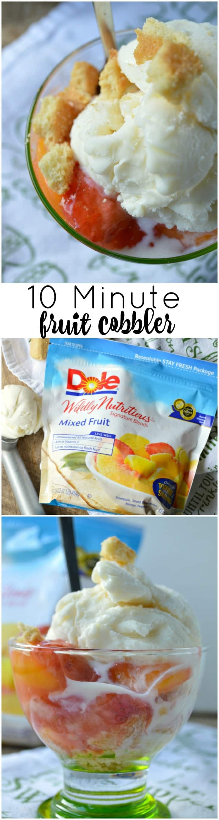 A quick, no-bake cobbler that is perfect for last minute get-togethers or extra guests! This 10 Minute Fruit Cobbler is a hassle free, simple solution to your sweet tooth!