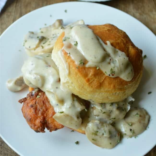 Friend Chicken Biscuits with Mushroom Gravy