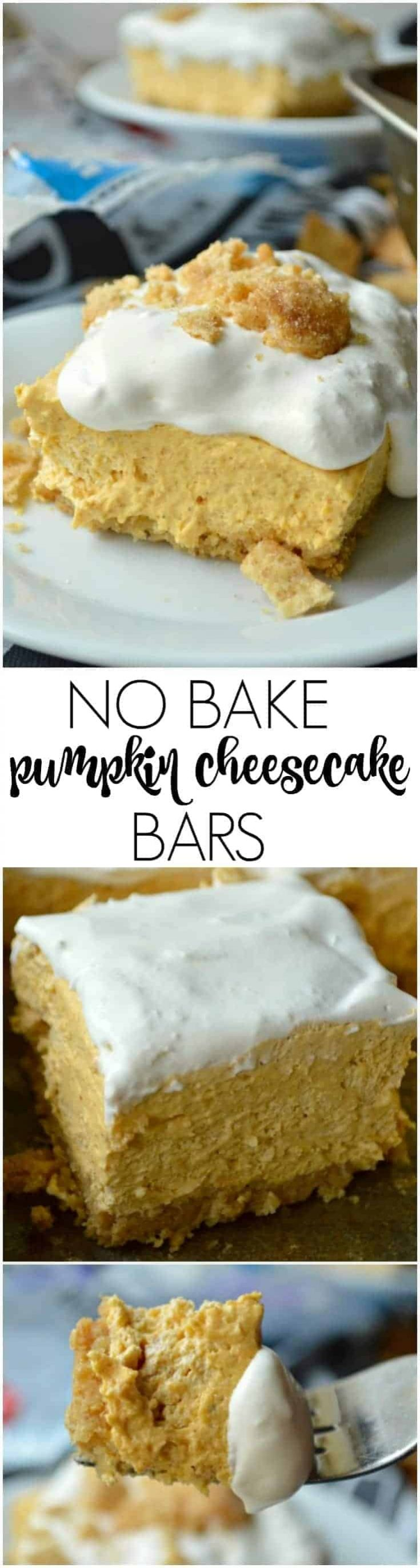 These easy No Bake Pumpkin Cheesecake Bars have a cinnamon sugar crust that will make you swoon, and require just 15 minutes of work!