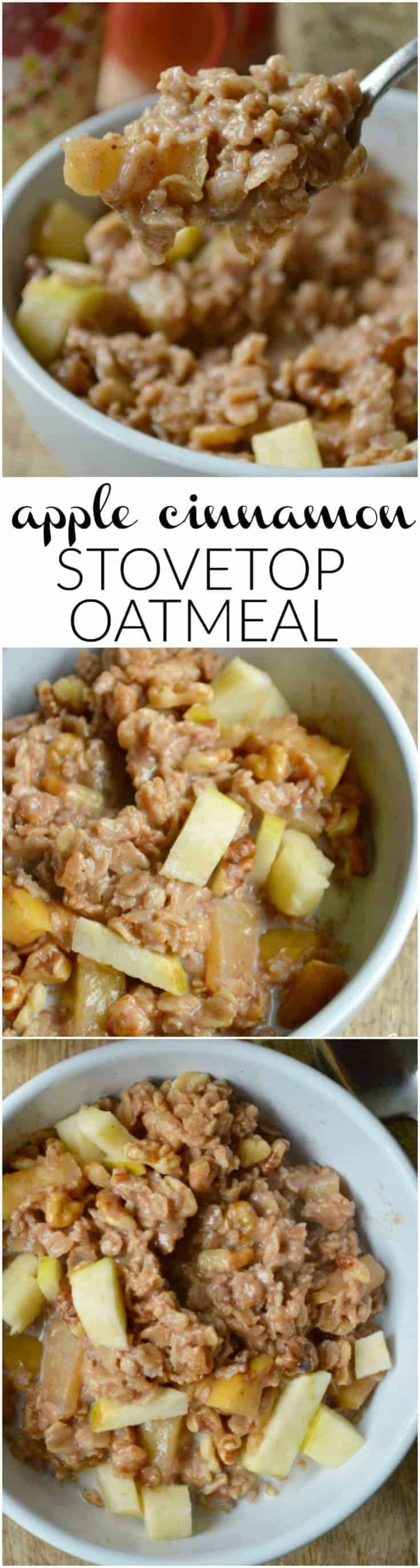 If you love apple pie or apple crumble, you'll LOVE this Apple Cinnamon Stovetop Oatmeal! Warm, cozy, and loaded with cooked apples plus all the delicious spices.