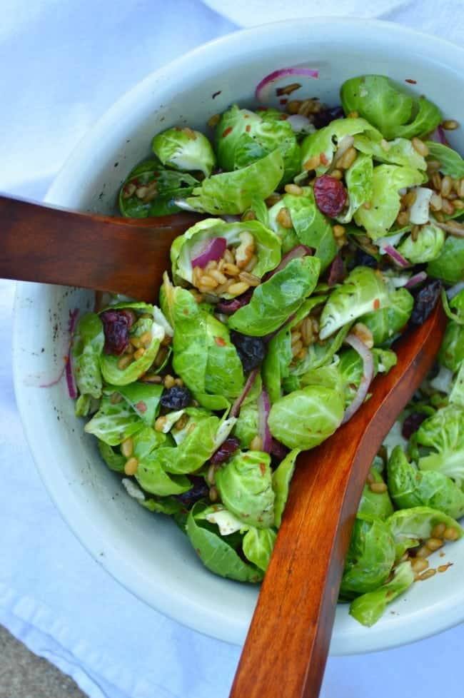Brussel Sprout salad with Farro and Walnuts