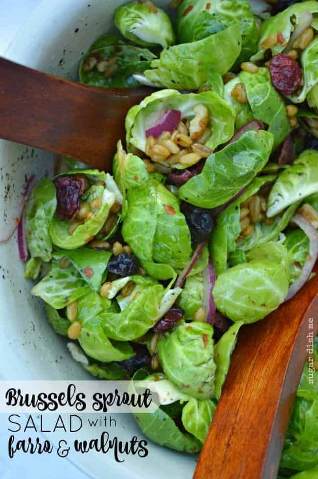 Brussels Sprout Salad with Farro and Walnuts