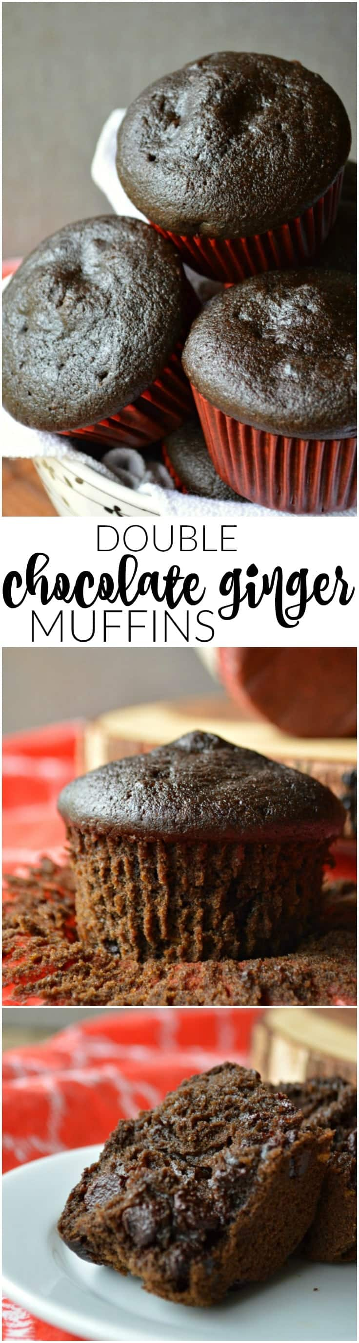 Soft Double Chocolate Muffins with a hint of ginger zing! Perfect for holidays
