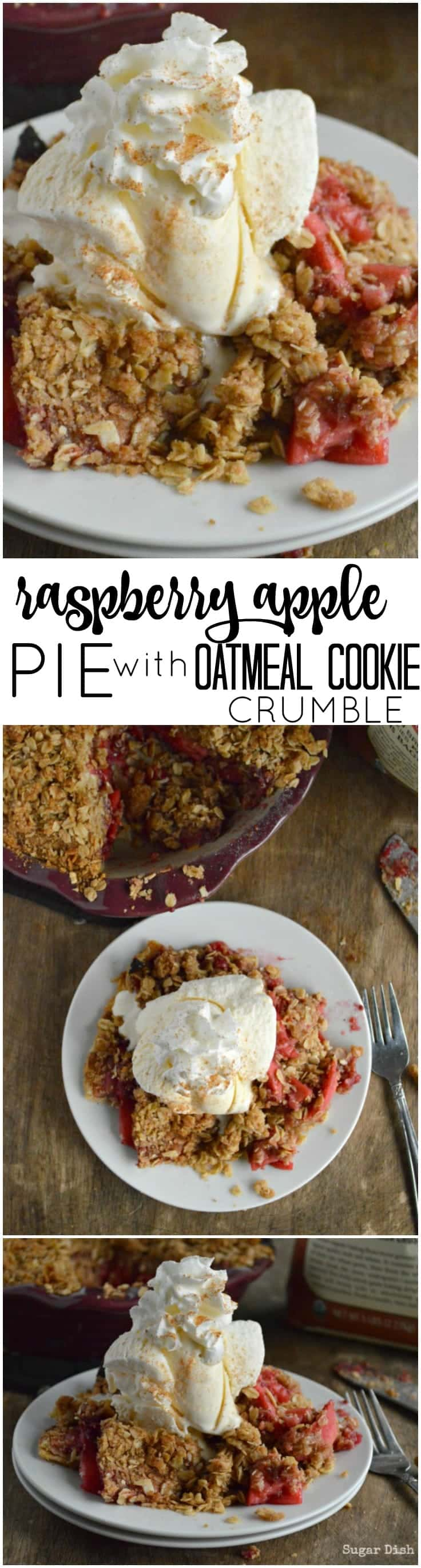 Raspberry Apple Pie with oatmeal Cookie Crumble is a sweet, tart, beautiful fall treat!