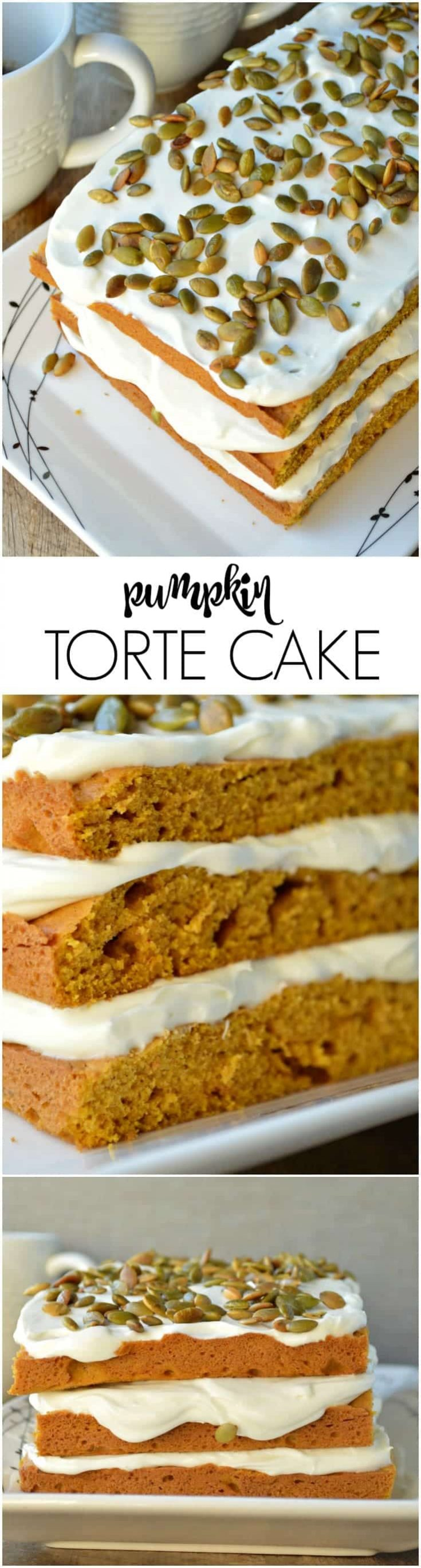 The simplest pumpkin dessert around but it LOOKS and TASTES terrific! Pumpkin Torte Cake is stacked high with thick layers of cream cheese frosting