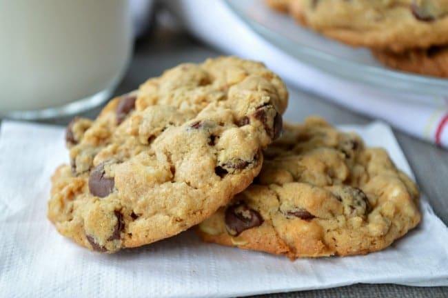 Triple Chocolate Peanut Butter Oat Cookies