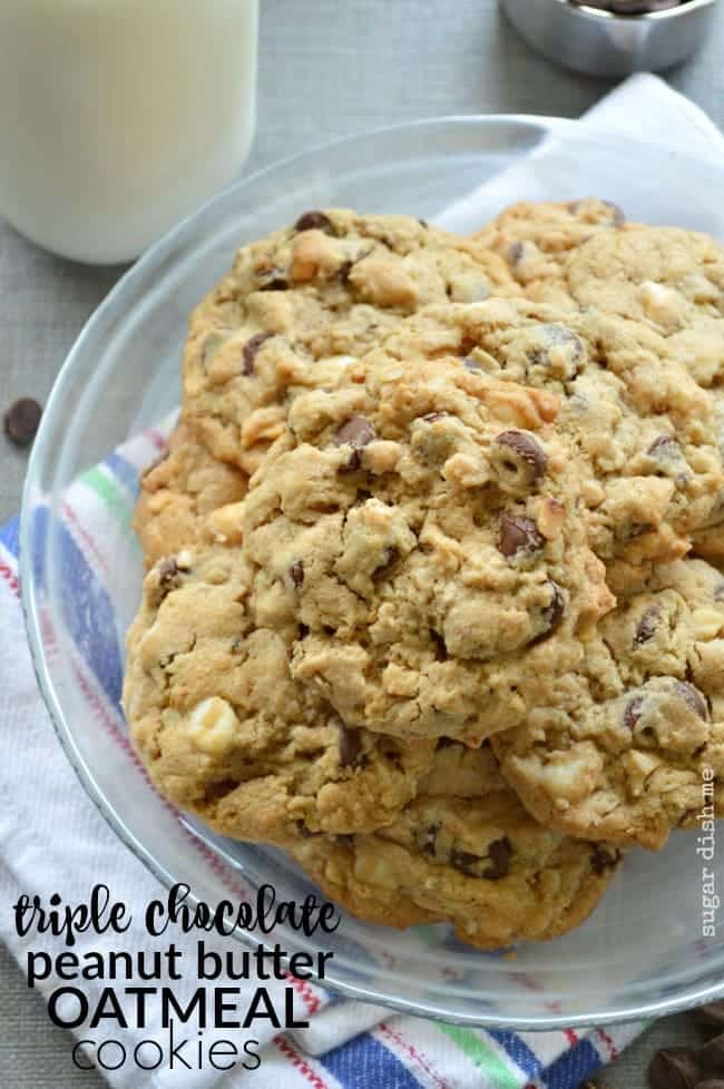 Triple Chocolate Peanut Butter Oatmeal Cookies
