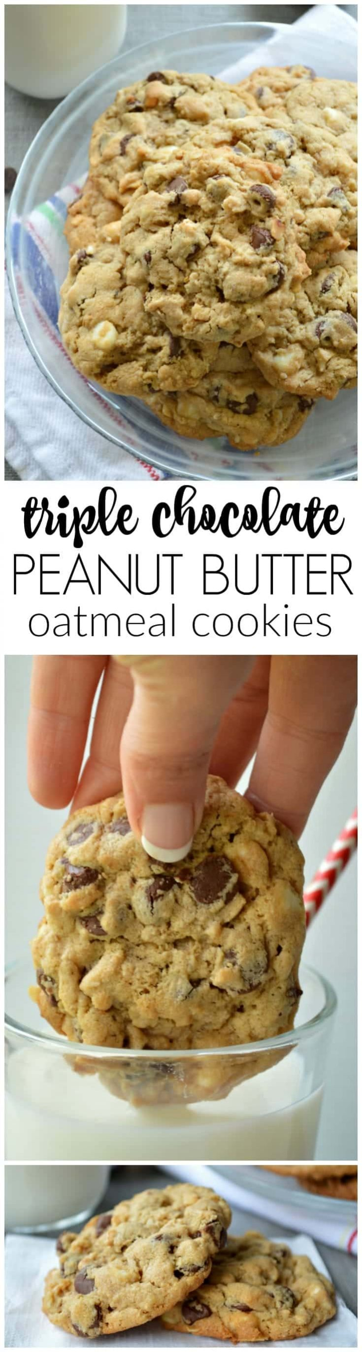 My ACTUAL Favorite Triple Chocolate Peanut Butter Oatmeal Cookies. They are the perfect amount of chewy, loaded with three kinds of chocolate chips, peanut butter chips, AND peanut butter in the batter.