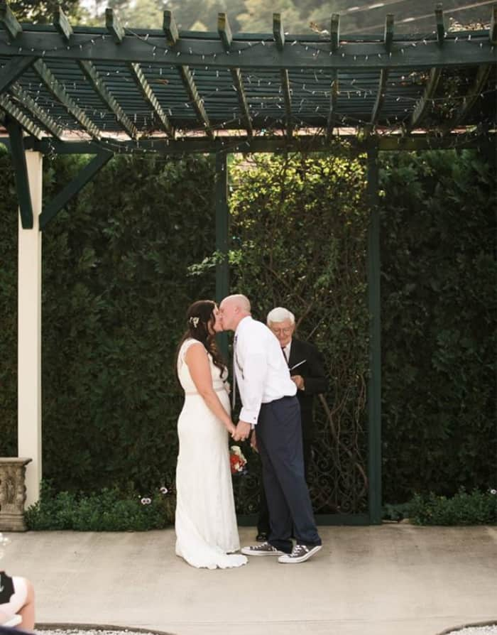 Bride and Groom's First Kiss at this Lake Lure Wedding