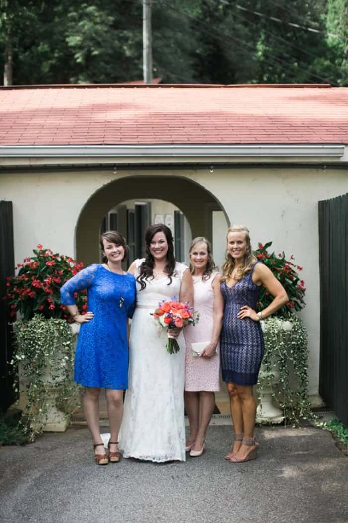 Bride, Mother of the Bride, and Bridesmaids at a Lake Lure Inn Wedding!